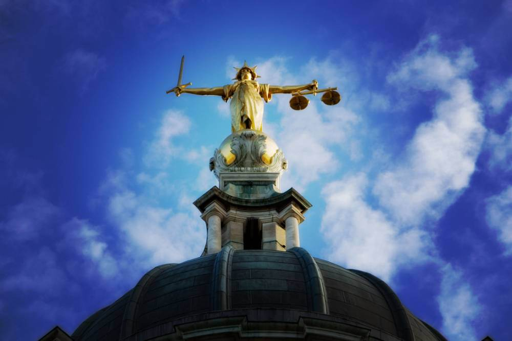 Lady justice on the top of the Old Bailey in London,